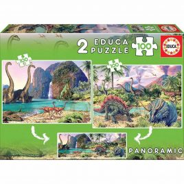 PUZZLES 2X100 DINO WORLD EDUCA